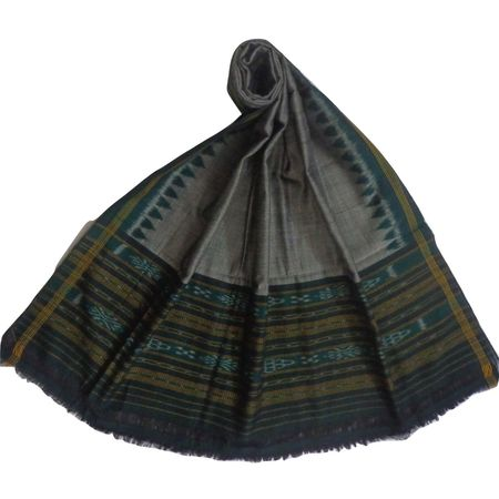 OSS402: Grey with Green handloom cotton Dupptta Online with best designs