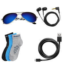 Branded Aviator Earphone data cable and 3 pairs branded socks just Rs 888 Only