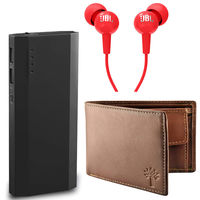 Mi / Samsung 16800 Powerbank JBL Earphone with Woodland Wallet Combo in Just Rs 999
