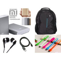 HP Black Blue Amazing Laptop Backpack with MI 10400mAh data cable earphone and LED light just Rs 999 only