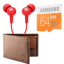 Buy Samsung Evo 64GB Memory card with Woodland Wallet and JBL Earphone in Just Rs. 599, 64gb with woodland wallet & jbl