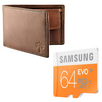 Buy Samsung Evo 64GB Memory card with Woodland Wallet and JBL Earphone in Just Rs. 599, 64gb with woodland wallet