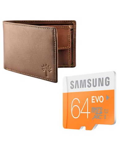 Buy Samsung Evo 64GB Memory card with Woodland Wallet and JBL Earphone in Just Rs. 599