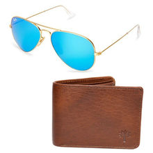 Buy Branded Rayban Aviator with Woodland Wallet Just Rs. 999 Only, blue