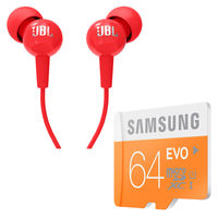 Buy Samsung Evo 64GB Memory card with Woodland Wallet and JBL Earphone in Just Rs. 599, 64gb with jbl earphone