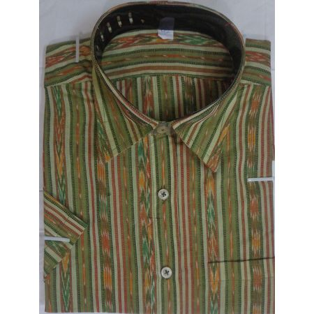 OSS9030: Indian Casual Green color handwoven Cotton shirt