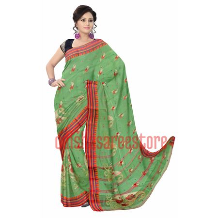OSSWB053: Exclusive design Light sea green color handloom West Bengal cotton saree