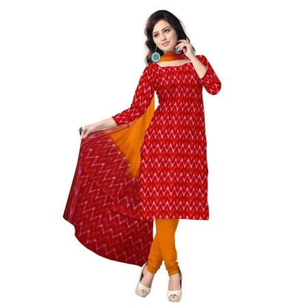 OSSTG6222: Red color ponchampally handwoven cotton dress material
