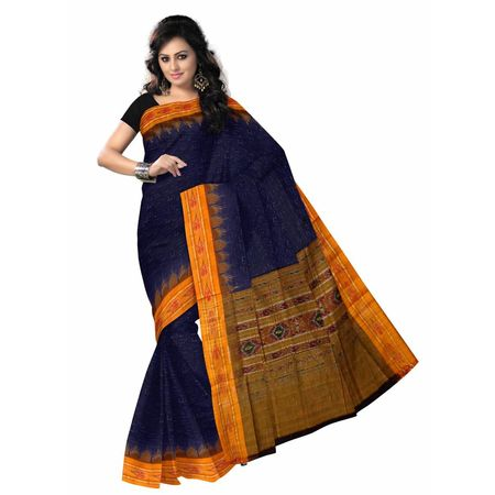 OSS7002 Cheap Navy Blue color handloom cotton saree online