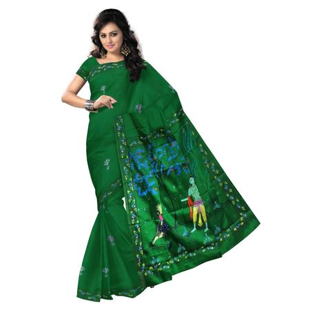 OSS20049: Green Patachitra Saree for party wear