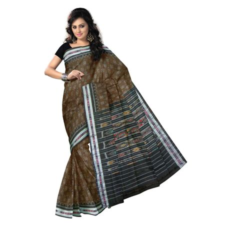 OSS9056: Brown with Black handwoven Cotton Saree of odisha