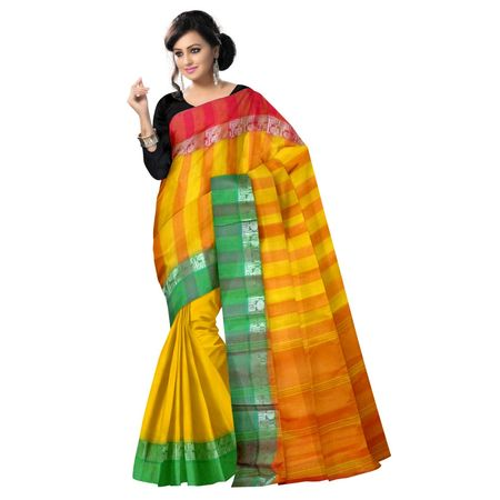 OSSWB9000: Yellow color Ganga Jamuna Handwoven Cotton sarees of West Bengal.