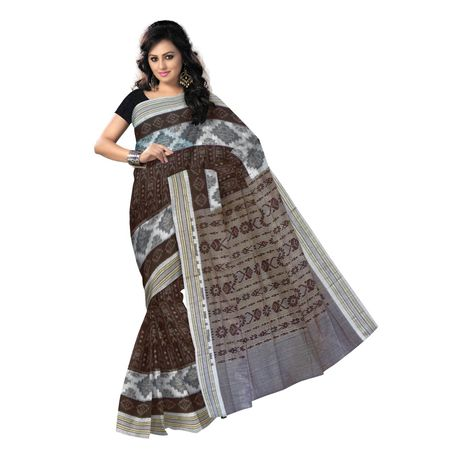 OSS7535: Traditional fish design brown handwoven cotton sari for online shopping