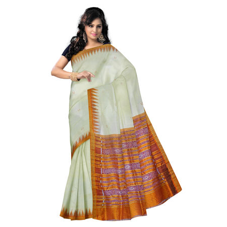 OSS5016: Berhampuri off white handloom Silk Saree for festival wear