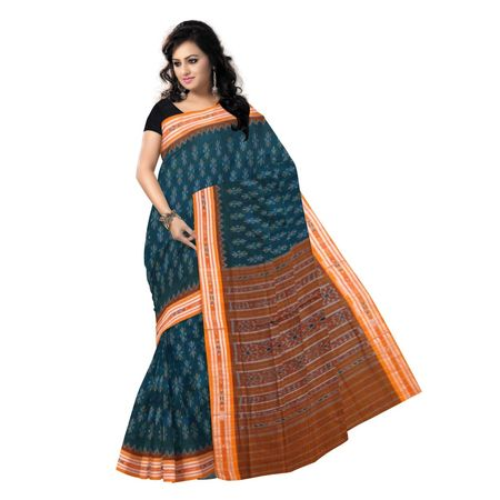 OSS9040: Green with Orange Handloom cotton sarees for puja wear
