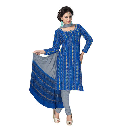 OSS113: Beautiful Traditional Dark Blue & Light Blue Traditional Ikat(tie & dye) Cotton Dress Material.