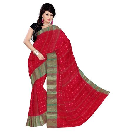 OSSWB150: West Bengal red color tant Cotton Sari