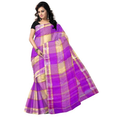 OSSWB9009: Magenta with Yellow cotton sarees of West Bengal