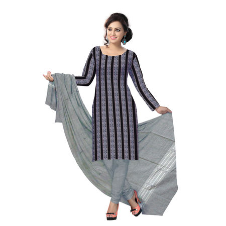 OSS1036: Beautiful Traditional Black & Grey Traditional Ikat(tie & dye) cotton Dress Material