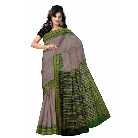 OSS5043: Deep Grey color Handloom Silk saree for Office party wear