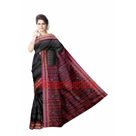 OSS5106: Black Handloom Sambalpuri Silk saree for party wear