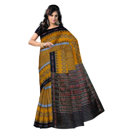 OSS299: 3D yellow with black handloom Cotton Saree