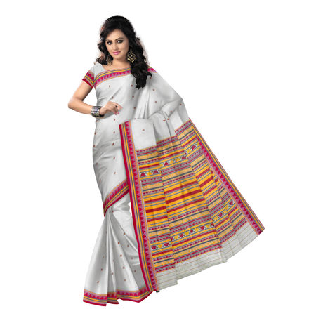 OSS9123: Trendy Off White Kotpad Dongria Cotton Saree for Gift