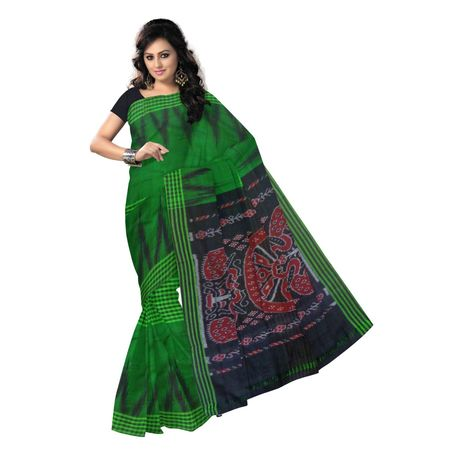 OSS193: Green Handwoven cotton sarees for special occasion wear.