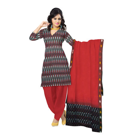 OSSTG6236: Unstitched Women' s Handwoven Black with Red Pochampally cotton Dress Material with same Dupatta