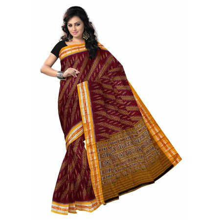 OSS7500: Maroon with Yellow hanwoven Cotton saree