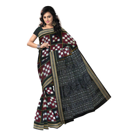 OSS068: Exclusive Maroon & black Pasapalli Sambalpuri Traditional ikat Cotton Saree