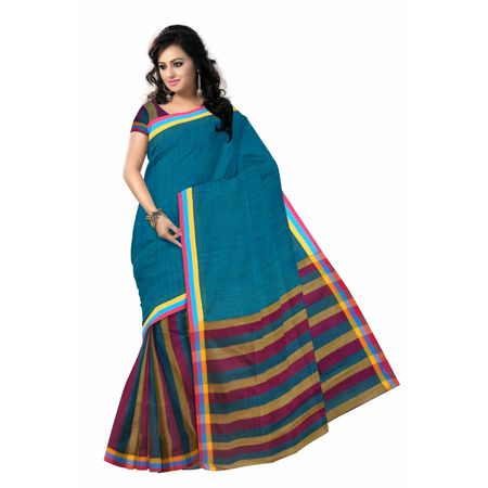 OSSWB027: Blue color baha design cotton saree online shopping.