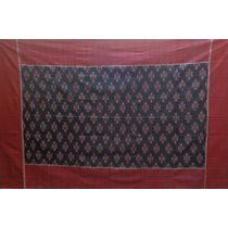 OSS3548: Black and Maroon Traditional Ikat(Tie and Dye) Single Bed Cover.