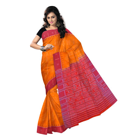 OSS9100: Orange with Maroon Sambalpuri Handloom Cotton Saree.