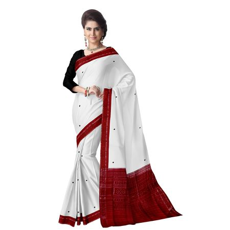 OSS7517: White with Red border Indian cotton sarees for festival wear
