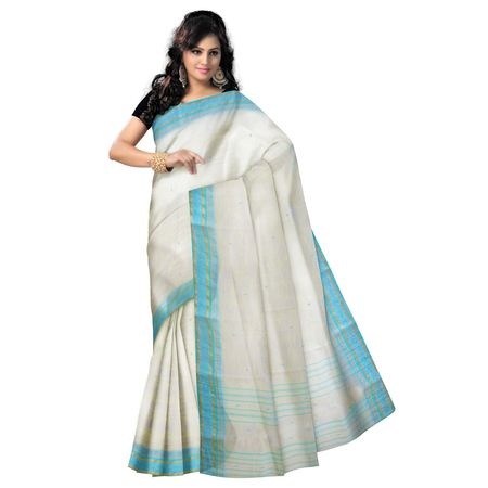 OSSWB153: White color Tant handloom cotton sarees