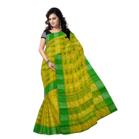 OSSWB9052: Yellow Jamdani Saree of Bengal for Your Ethnic Wear
