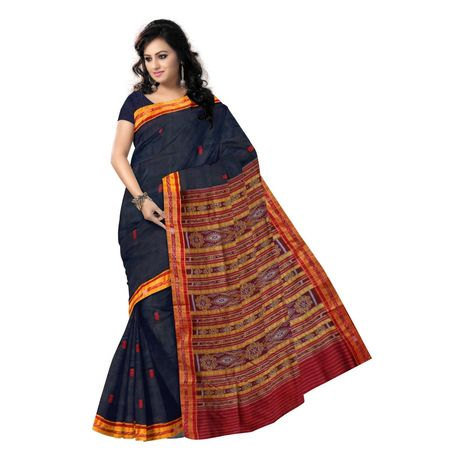 OSS5143: Beautiful Black color khandua silk saree with fish motif's.