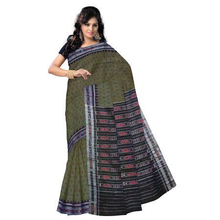 OSS216: Sonepur olive hand woven cotton Sarees