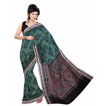 OSS7541: Green Handwoven Sambalpuri cotton sarees.