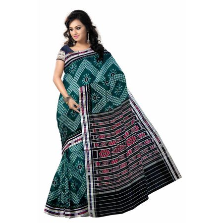 OSS7580: Handwoven Green Big flower design cotton sarees