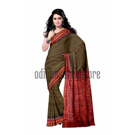 OSS5134: Olive with Maroon Ikat handloom Silk saree for party wear.