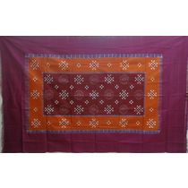 OSS3549: Brick and Maroon pasapalli Single bed cover