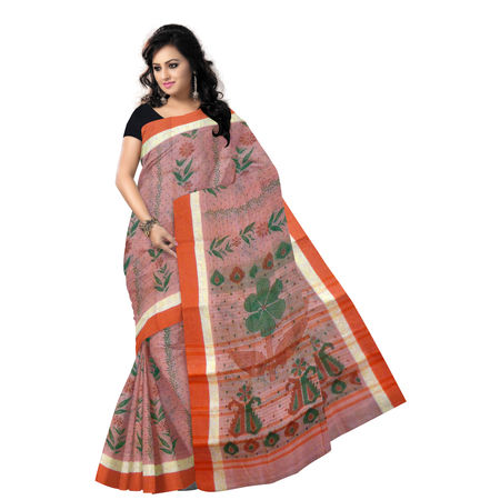 OSSWB9042: Orange Colour West Bengal Block Print handwoven Cotton Saree.