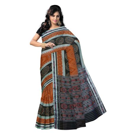 OSS9074: Brown handwoven Cotton saree of sambalpur with Konark wheel designs.