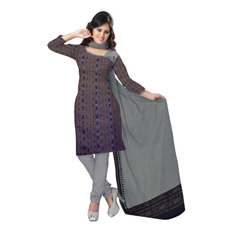 OSS9049: Traditional Navy Blue handloom sambalpuri cotton dress material for festival wear.
