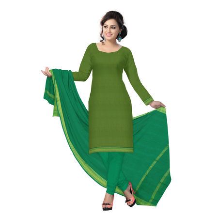OSSTG6234: Handwoven Light Olive and Green Mangalagiri Cotton Dress Material