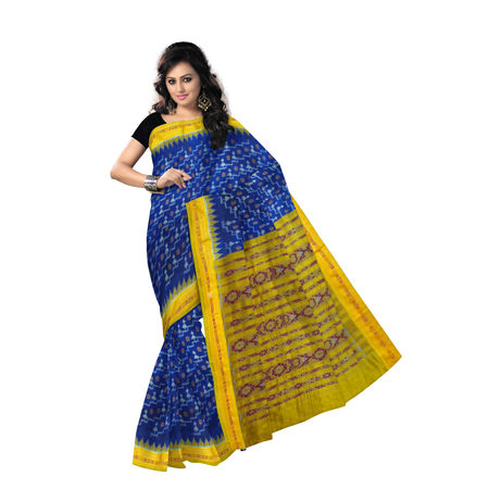 OSS5166: Ink Blue with Yellow Handwoven sambalpur Silk Saree for party wear.