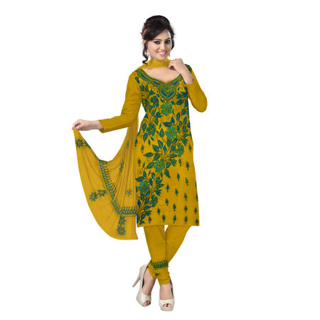 OSSWB9058: Yellow Embroidory Work Unstitched Salwar Suit of Bengal
