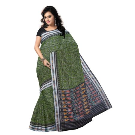 OSS9075: Green handwoven cotton saree for puja wear.